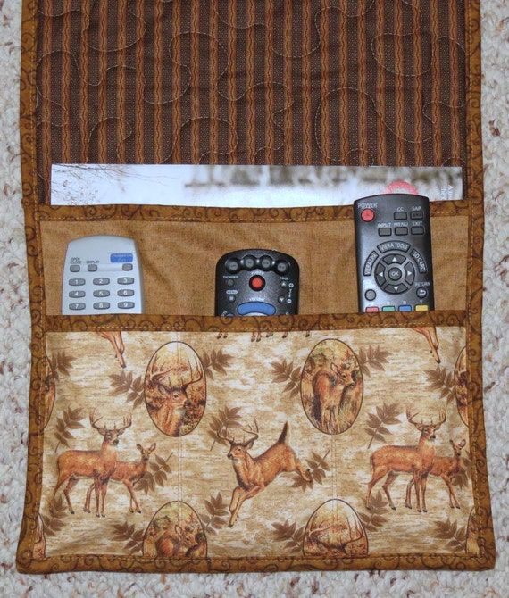 Quilted Armchair Caddy Bedside Caddy Remote holder Deer