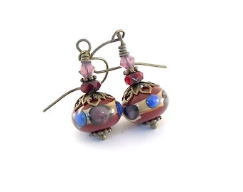 Deep Red Lampwork Earrings - Blue and Lavender Earrings - Lampwork Earrings - Wire Earrings - Brass Earrings - Antique Brass Earrings -Small