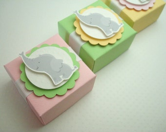 Baby Elephant Favor Boxes, Pink, Yellow, and Lime Green, Set of Ten