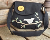 BIRD PURSE, Bird Tote,  Black Canvas, Eco- Friendly Purse, Vegan Bag, Nature Purse