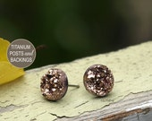 Faux Druzy Stud Earrings in Rose Bronze Glitter Druzie Posts, 10 mm Faux Drusy Posts, Titanium Posts