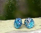 Swirl Sparkle Stud Earrings, Iridescent Aqua and Violet, 12mm, Cyclone