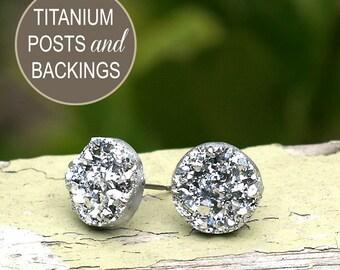 Faux Silver Druzy Titanium Earrings, Silver Glitter Posts, Imitation Drusy Earrings, Metallic 12mm, Minimalist