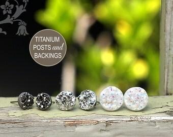 Faux Druzy Titanium Post Earrings, 3 Pair Set Drusy Glitter Studs - Dark Silver, Bright Silver, Starlight White - Galaxy Collection