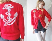 SALE...80s nautical cardigan. novelty cardigan. red cardigan - medium