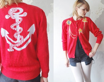 SALE...80s nautical cardigan. novelty cardigan. red cardigan - medium