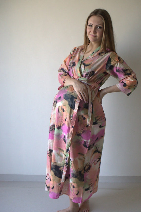 Pink Watercolor Flamingo Ankle length Maternity Robe