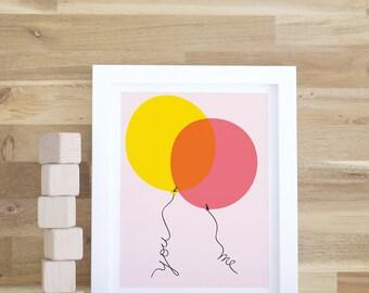 Kids Decor, Balloon Art Print, Nursery Wall Art, Pink, Yellow, Girls Decor, Kid Prints, Art and Decor, Baby Decor. You and Me Art Print