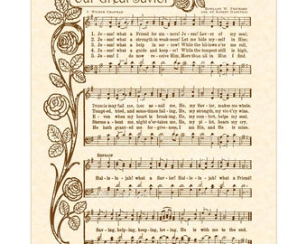 OUR GREAT SAVIOR aka Jesus! What A Friend For Sinners! 8x10 Antique Hymn Vintage Verses Sheet Music Natural Parchment Sepia Brown Hallelujah