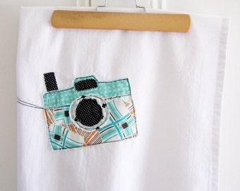 Flour Sack Tea Towel Appliqued Camera Design 100% Cotton