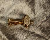 Vintage Gold Tone Monogram Tie Clip- S