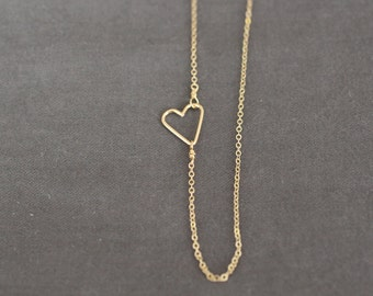 heart necklace, gold heart, dainty necklace, dainty gold necklace, small heart, tiny heart, heart, bridesmaids necklace, wedding, N171
