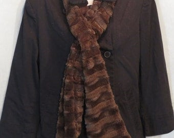 Faux Fur Scarf, SOFT and warm, neck warmer, Winter Fashion, looks like Mink, Black or Brown