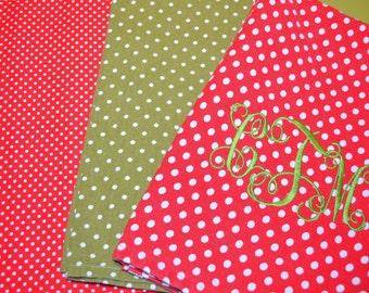 Polka Dot Custom Monogram Kitchen Towel- Red or Green