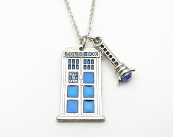Tardis Necklace and Sonic Screwdriver, Doctor Who Jewelry Fan Art, Small Blue Tardis Charm with Blue Sonic Screwdriver A002