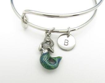 Mermaid Charm Bangle, Mermaid Bracelet, Adjustable Expandable Bangle Bracelet, Personalized Initial Bracelet, Painted Mermaid Charm K021