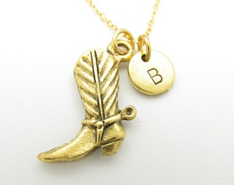 Cowboy Boot Necklace, Boot Charm, Personalized, Initial Necklace, Stamped Initial Letter, Cowboy Shoe Charm, Monogram Necklace Z220