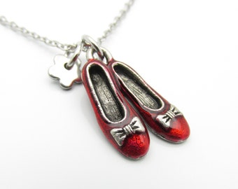 Ruby Slippers Necklace. Painted Slippers Charm, Dorothy Wizard of Oz Inspired Necklace in Antique Silver Finish A028
