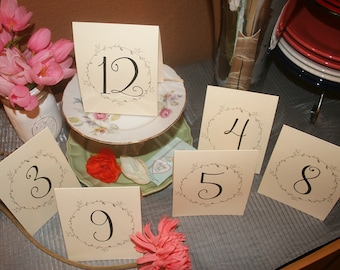 Vintage Table Numbers, Folded Table Numbers, Table Tents,Table Numbering, Reception Tables. Select how many you need.