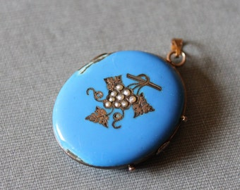 Large Antique Turquoise Enamel Locket / Victorian Seed Pearl Grape Cluster Bacchus Locket