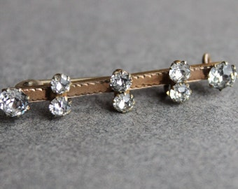 Antique Victorian French Paste Bar Brooch