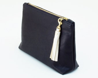 Large Leather Clutch with Tassel Zipper Pull, Clutch with Purse Charm, Leather Wristlet, Black Evening Clutch, Wedding Clutch, Bridal Clutch