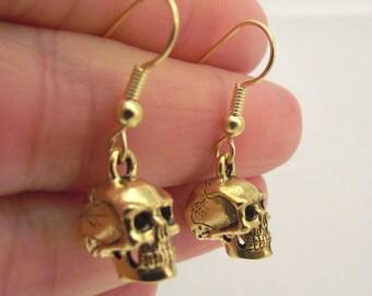 Golden Skull Earrings, Gold Skull Earrings,