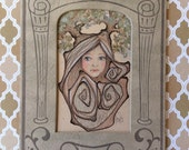 OOAK Drawing * Tiny Tree Girl * Antique Paper Frame * Tracy Lewis ~ Pop Surrealism