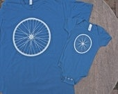 GIFT SET / Matching T-Shirt & Baby Onesie set / Hipster Bike Wheel / Organic Cotton Tee / American Apparel