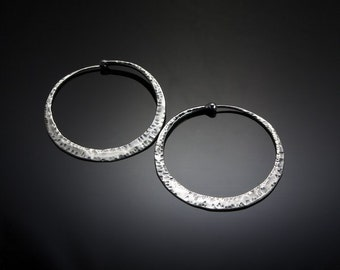 Large Hammered Silver Hoop Earrings // Sterling Silver Cross Peen Texture Hoops