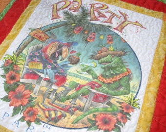 Upcycled Parrothead Baby Quilt for Jimmy Buffet fan Baby Blanket