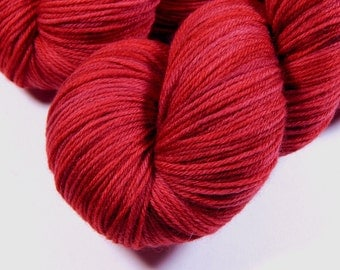 Hand Dyed Yarn - Sock Weight Superwash MCN (Merino Wool / Cashmere / Nylon) Yarn - Ruby Tonal - Knitting Yarn, Sock Yarn, Wool Yarn, Red