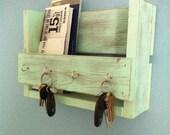 Rustic key holder, mail organizer, aqua key holder,  reclaimed wood key rack, entryway shelf, key hook, entryway decor, aqua shelf