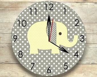 elephant nursery elephant clock gray and yellow safari clock elephant room decor children's clock nursery clock wall clock nursery decor