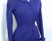 Vintage 40s Suit Royal Blue with Red Trim - 1940s GAB Womens skirt Suit Wasp Waist couture cutie - on sale