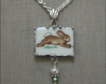 Royal Doulton BUNNYKINS Broken China Jewelry Running Bunny Rabbit Rectangle Necklace