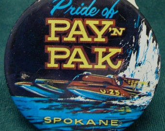Hydroplane Boat Races Button Pride of Pay n Pak