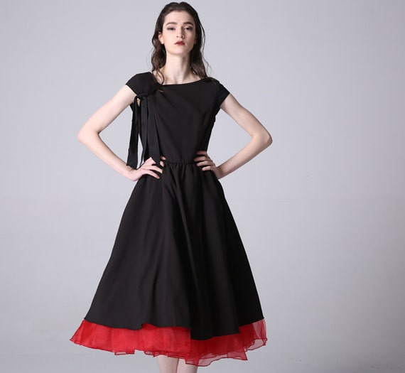 Black dress woman party dress long dress with red contrast hem (828)