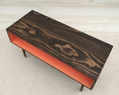 Coffee Table Handmade Mid Century Modern Chocolate and Coral (or custom color) Coffee Table Furniture MCM