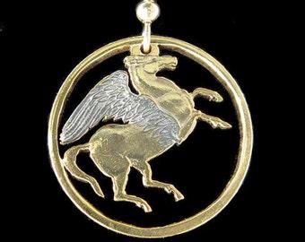 Cut Coin Jewelry - Earrings - Greece - Pegasus
