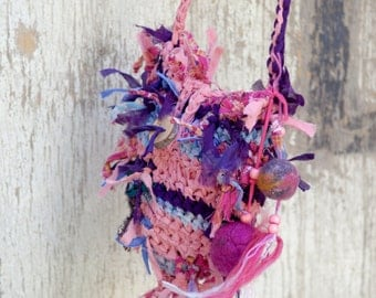 Crochet Fairy Bag, Pink purple eco friendly rag purse, Fabric scraps bag, Tagt team