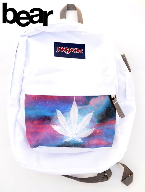 Custom JanSport Backpack Marijuana Pot Leaf Galaxy