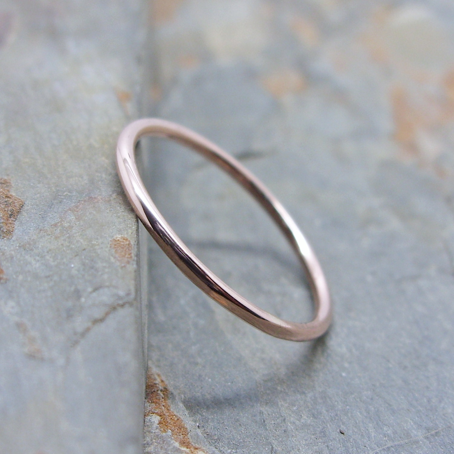 Simple Thin 14k Rose Gold Wedding Band in Choice of Finish