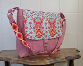 Messenger Bag in Tula Pink Deer Me in Strawberry with Red yarn dyed essex linen