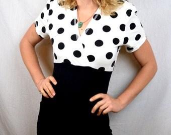 Vintage 80s Polka Dot Mini Fitted Spandex Black White Party Dress