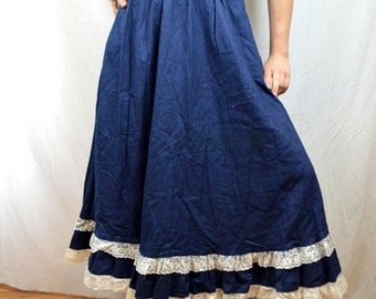 Vintage Western Karman Country Cotton and Lace Maxi Skirt