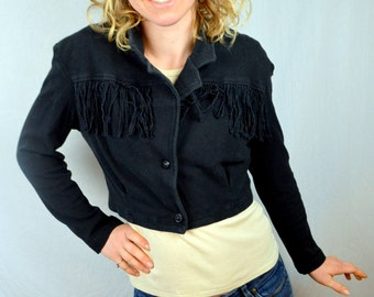 Vintage Western Cropped Black Fringe  Party Top by YES