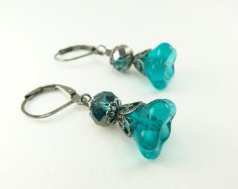 Teal Earrings Beaded Earrings Flower Earrings Teal Flower Earrings Teal Beaded Earrings Gunmetal
