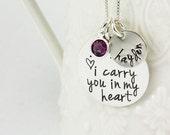 I carry you in my heart necklace - remembrance jewelry - memorial necklace - Keepsake jewelry - adoption jewelry - tagyoureitjewelry etsy