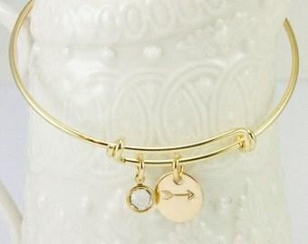 Gold Filled Expandable Bangle Bracelet-Arrow Bracelet-Birthstone Jewelry-tagyoureitjewelry- Bracelet-Gold bangle-minimalist jewelry